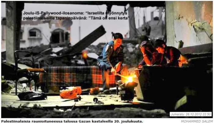 Pommitehdas runioina; Pallywoodin näyttlijät Ahmed, Muhamed ja Ali tauollah.