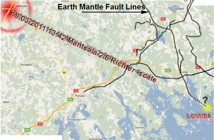 GTK kartasta poimittuja maankuoren siirtymälinjoja, Mäntsälän järistys...